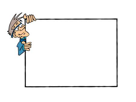 Frame Bertrand. White senior man holding a blank frame