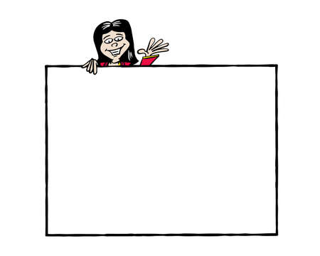 Frame Ji. Asian business woman holding a blank frame Zdjęcie Seryjne