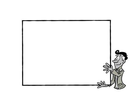 Frame Manue BW, Latin man holding a blank frame