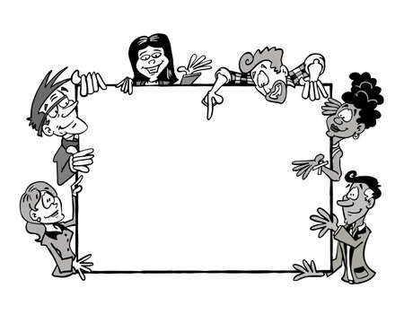 Frame Multicultural team BW. People from different ages and ethnicities holding a blank frame