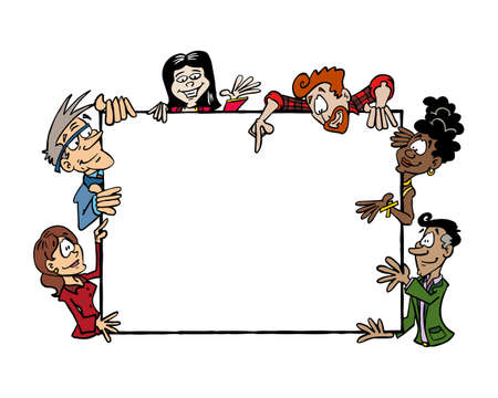 Frame Multicultural team. People from different ages and ethnicities holding a blank frame