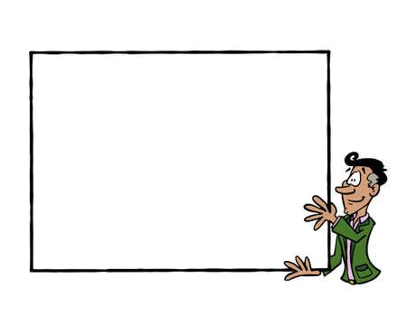 Frame Manuel, Latin man holding a blank frame Stock Illustratie