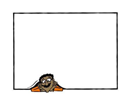 Frame Raj. Indian man holding a blank frame