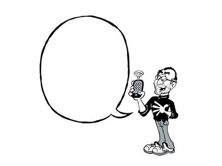 Steve Jobs BW. Cartoon Jobs with a blank text balloon
