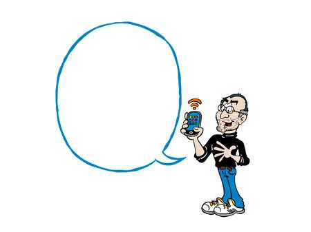 Steve Jobs. Cartoon Jobs with a blank text balloon