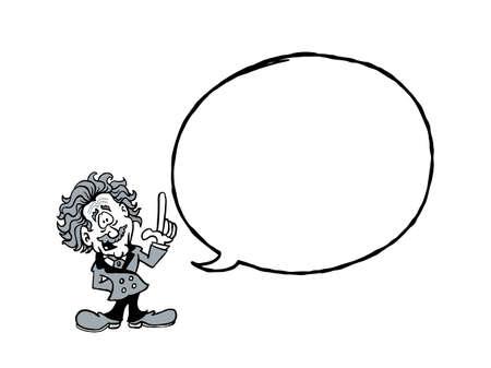 Einstein BW. Cartoon Einstein with a blank text balloon