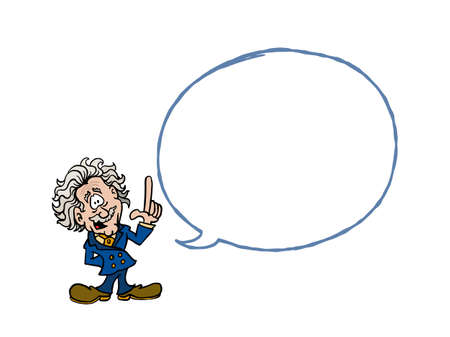 Einstein. Cartoon Einstein with a blank text balloon Zdjęcie Seryjne