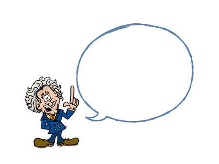 Einstein. Cartoon Einstein with a blank text balloon Stock Illustratie