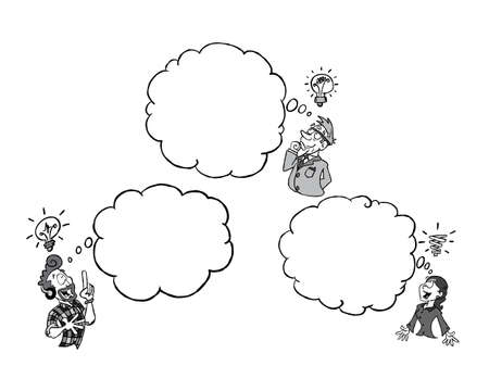 Three persons of different ethnicity having an idea of their own with a blank thinking cloud BW
