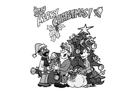 Multicultural team (2) in front of a christmas tree BW