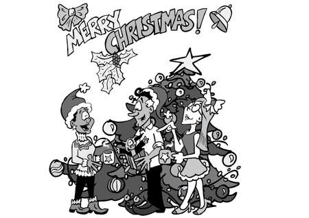 multicultural team in front of a christmas tree BW