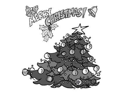 Christmas tress drawing BW