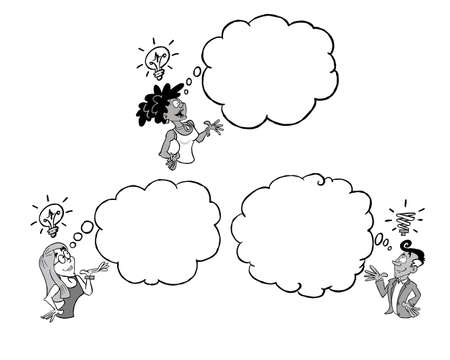 Three persons of different ethnicity having an idea of their own with a blank thinking cloud in black and white