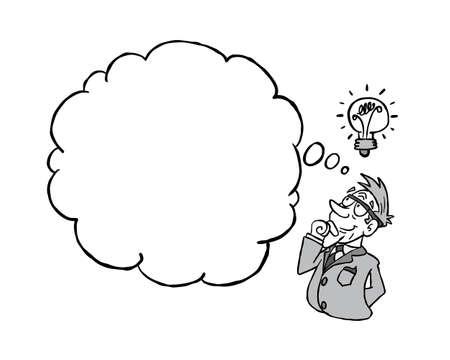 White senior man having an idea with a blank thinking cloud in black & white Stockfoto