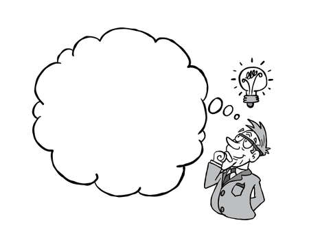 White senior man having an idea with a blank thinking cloud in black & white