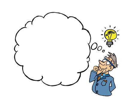 White senior man having an idea with a blank thinking cloud