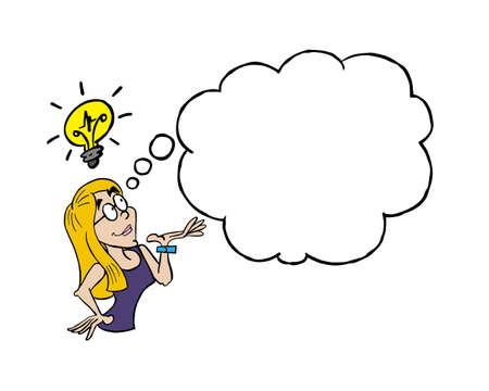 Young woman having an idea with a blank thinking cloud