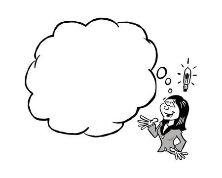 Asian business woman having an idea with a blank thinking cloud In black & white