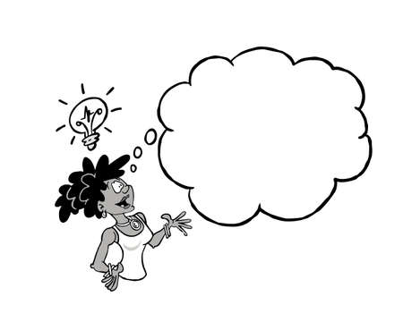 Black business woman having an idea with a blank thinking cloud In black & white