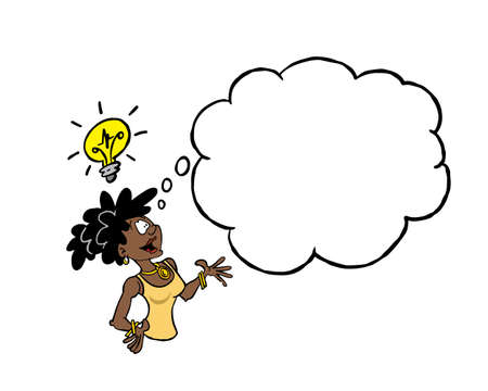 Black business woman having an idea with a blank thinking clouD