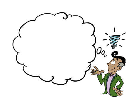 Latin man having an idea with a blank thinking cloud