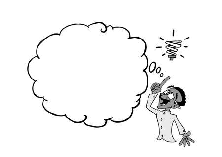 Indian man having an idea with a blank thinking cloud In black & white