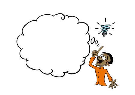 Indian man having an idea with a blank thinking cloud Zdjęcie Seryjne
