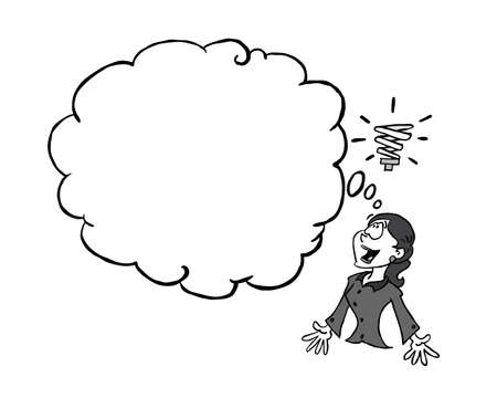 Young woman having an idea with a blank thinking cloud In black & white