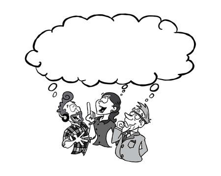 Three white persons of differet age havnig the same idea with a blank thinking cloud BW