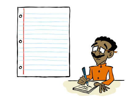 Brown Asian man writing on a sheet of paper with a blank space for content Ilustracja