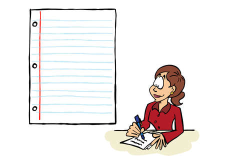 Business woman writing on a sheet of paper with a blank space for content Ilustracja