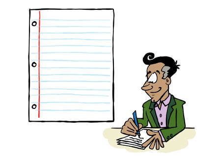 Latin businessman writing on a sheet of paper with a blank space for content Ilustracja