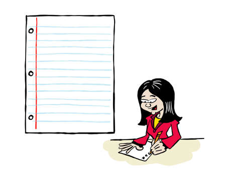 Asian business woman writing on a sheet of paper with a blank space for content Ilustracja
