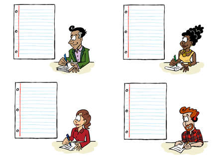 Pack of people of different ethnicities writing on a sheet of paper with a blank space for content Ilustracja