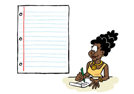 Black business woman writing on a sheet of paper with a blank space for content