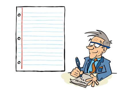 Senior busnessman writing on a sheet of paper with a blank space for content