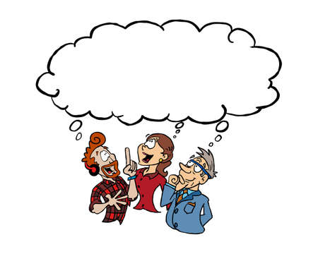 Three persons of differet age and gender having the same idea with a blank thinking cloud Ilustracja