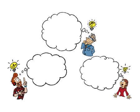 Three persons of different age and gender having an idea of their own with a blank thinking cloud Ilustracja