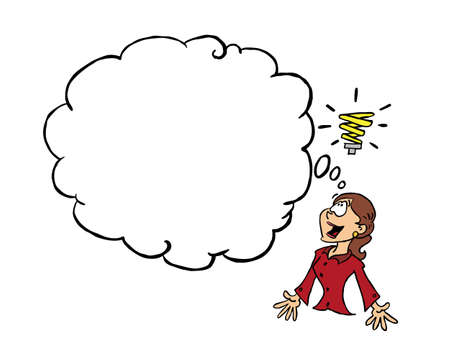 Young business woman having an idea with a blank thinking cloud for content Ilustracja