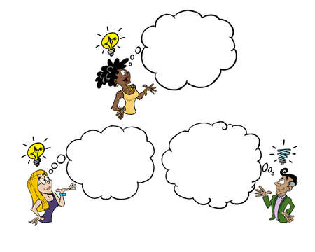 Three persons of different ethnicity having an idea of their own with a blank thinking cloud Ilustracja