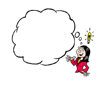 Asian business woman having an idea with a blank thinking cloud