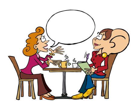 Cartoon character Sophie being `all ears` for her female interlocutor/client Vektoros illusztráció