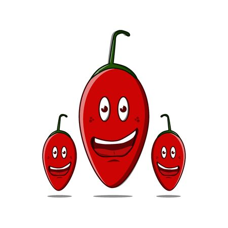 Vector illustration of a red, hot and spicy chilli cartoon character