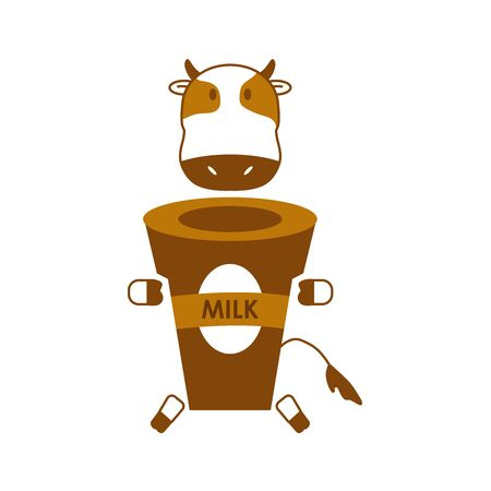 Vector illustration of cartoon cow and cup. milk is beneficial for health