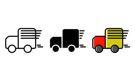 illustration vector car shipping icon. outline, glyph and fill outline Stock Illustratie