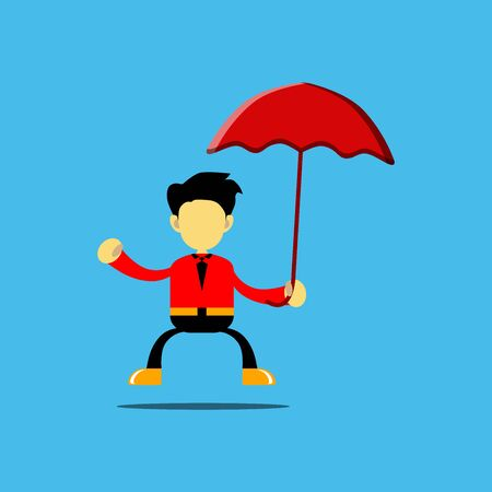 vector illustration of a cartoon character holding an umbrella, available umbrella before it rains