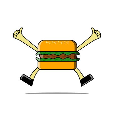 Vector illustration of happy burger cartoon, delicious, tasty food. can be found in food stores, etc. 向量圖像