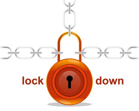 vector illustration of a glossy padlock with chains in a white background 向量圖像