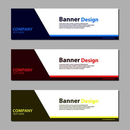 Vector abstract web banner design template on grey background. Vecteurs