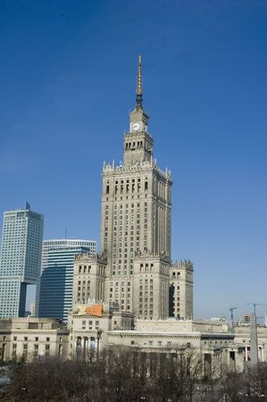 palace of culture and science landmark of Warsaw 版權商用圖片